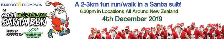 The Great NZ Santa Run is a 2-3km fun run/walk in a santa suit! Logo